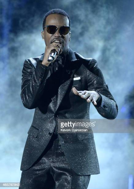 Rapper Juicy J performs onstage during the 56th GRAMMY Awards at Staples Center on January 26 2014 in Los Angeles California