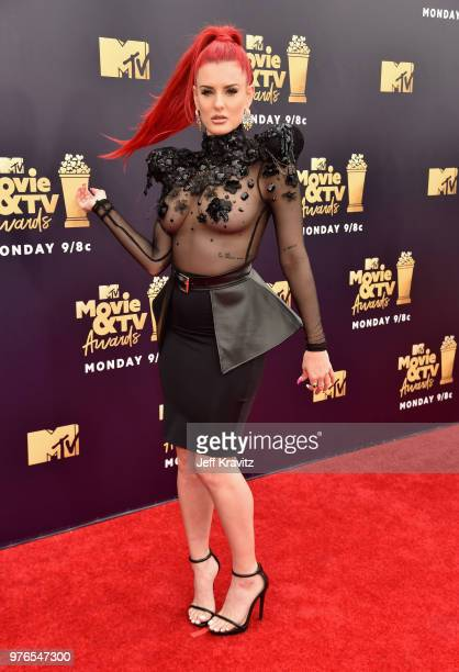 Rapper Justina Valentine attends the 2018 MTV Movie And TV Awards at Barker Hangar on June 16 2018 in Santa Monica California