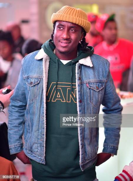 Rapper K Camp attends the 2018 Interscope National Championship Watch Party at Bytes Restaurant on January 8 2018 in Atlanta Georgia