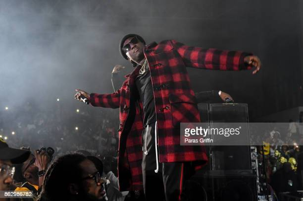 Rapper K Camp performs onstage in during Morehouse Homecoming Hip Hop Concert at Morehouse College Forbes Arena on October 18 2017 in Atlanta Georgia