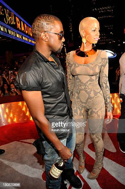 Rapper Kanye West and Amber Rose attend the 2009 MTV Video Music Awards at Radio City Music Hall on September 13 2009 in New York City