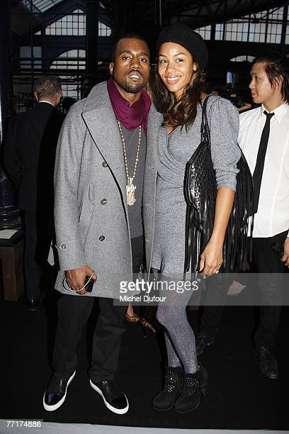 Rapper Kanye West and fiance Alexis Phifer arrives the Givenchy fashion show during the Spring/Summer 2008 readytowear collection show at Carreau du...