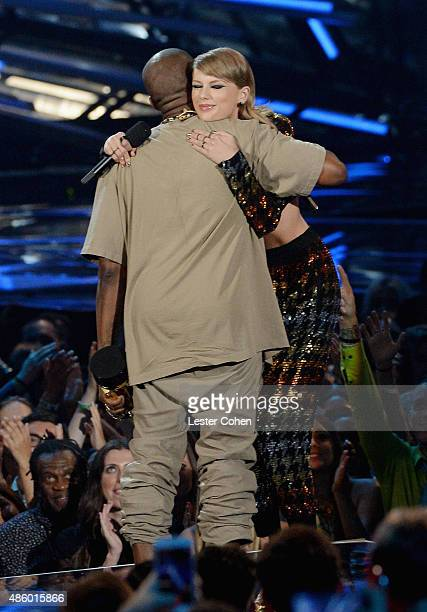 Rapper Kanye West and singer Taylor Swift appear onstage during the 2015 MTV Video Music Awards at Microsoft Theater on August 30 2015 in Los Angeles...