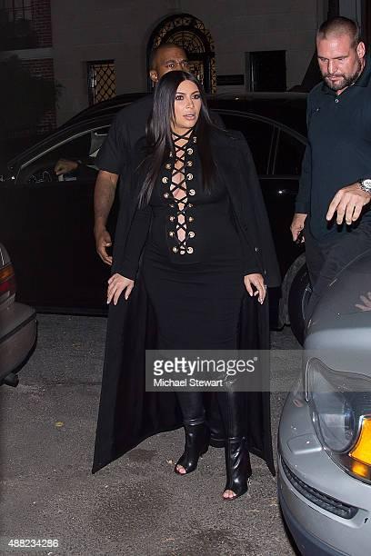 Rapper Kanye West and tv personality Kim Kardashian are seen on the Upper East Side on September 14 2015 in New York City