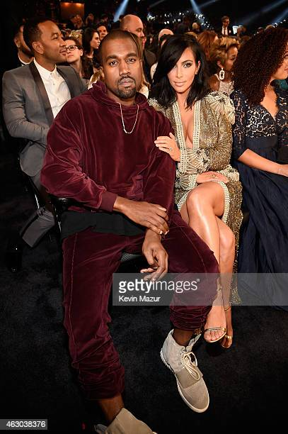 Rapper Kanye West and TV personality Kim Kardashian attend The 57th Annual GRAMMY Awards at STAPLES Center on February 8 2015 in Los Angeles...