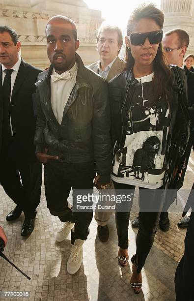 Rapper Kanye West and wife arrive to attend the Chanel Fashion show during the Paris Fashion Week Sp/Sum October 5 2007 in Paris France