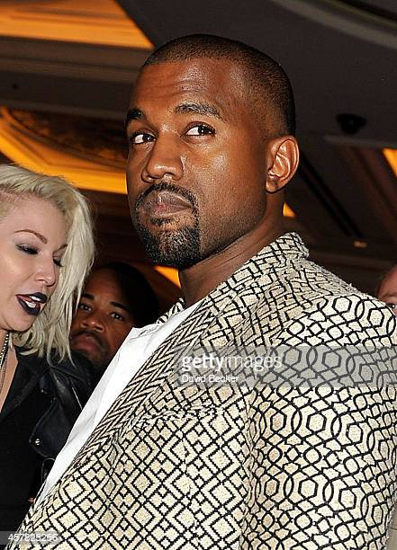 Rapper Kanye West arrives at the Tao Nightclub at The Venetian Las Vegas to celebrate his wife Kim Kardashian's 34th birthday on October 25 2014 in...