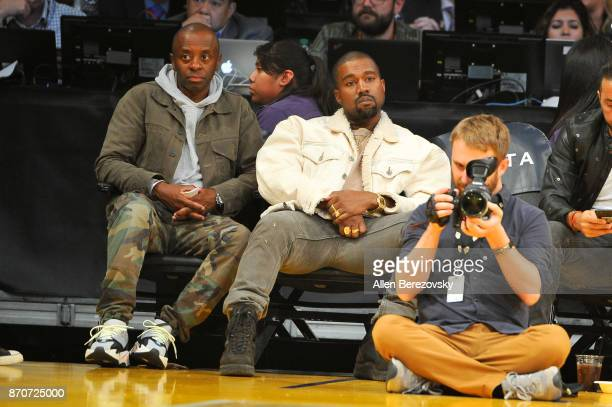 Rapper Kanye West attends a basketball game between the Los Angeles Lakers and the Memphis Grizzlies at Staples Center on November 5 2017 in Los...