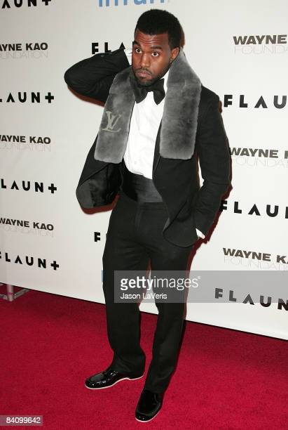 Rapper Kanye West attends Flaunt Magazine's 10th anniversary and annual holiday toy drive at The Wayne Kao Mansion on December 18, 2008 in Los...