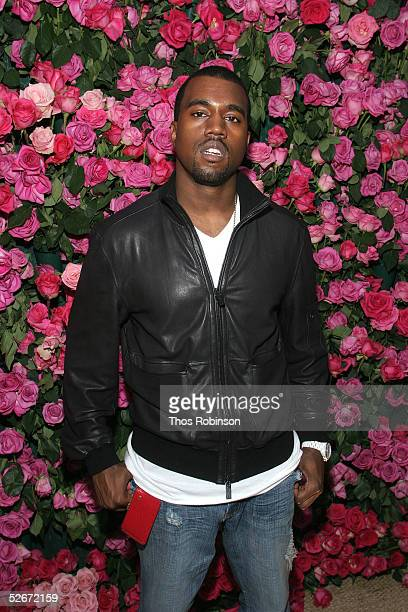 Rapper Kanye West attends the 'HM Live From Central Park' fashion show April 20 2005 in New York City