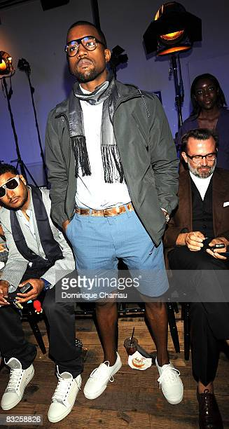 Rapper Kanye West attends the Lanvin fashion show during Paris Fashion Week Spring/Summer 2009 at the Museum of Man June 29 2008 in Paris France