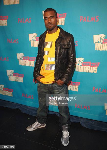 """Rapper Kanye West during MTV's """"TRL"""" announcing the nominations for the 2007 MTV Video Music Awards at MTV Studios in Times Square on August 7, 2007..."""