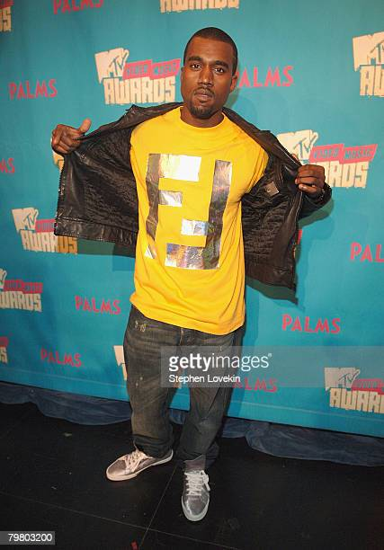 Rapper Kanye West during MTV's 'TRL' announcing the nominations for the 2007 MTV Video Music Awards at MTV Studios in Times Square on August 7 2007...