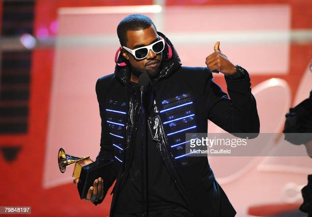 Rapper Kanye West during the PreTelecast for the 50th Annual GRAMMY Awards at the Staples Center on February 10 2008 in Los Angeles California