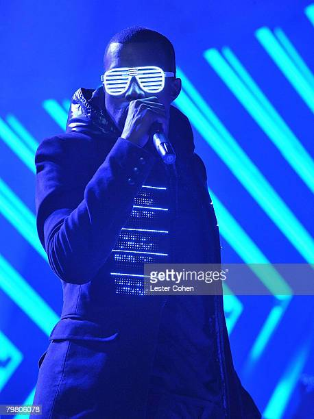 Rapper Kanye West on stage at the 50th Annual GRAMMY Awards at the Staples Center on February 10 2008 in Los Angeles California
