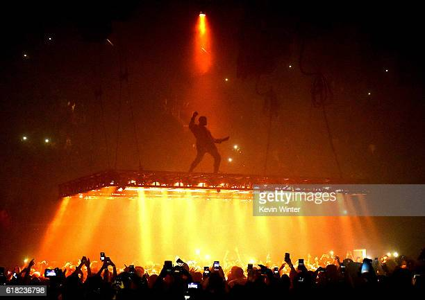 Rapper Kanye West performs at the Forum on October 25 2016 in Inglewood California