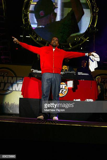 Rapper Kanye West performs at the Hot 97 Summer Jam 2005 Concert June 5 2005 at Giant Stadium in East Rutherford New Jersey