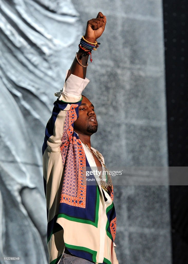Rapper Kanye West performs during Day 3 of the Coachella Valley Music & Arts Festival 2011 held at the Empire Polo Club on April 17, 2011 in Indio, California.