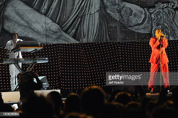 Rapper Kanye West performs during Day 3 of the Coachella Valley Music Arts Festival 2011 held at the Empire Polo Club on April 17 2011 in Indio...