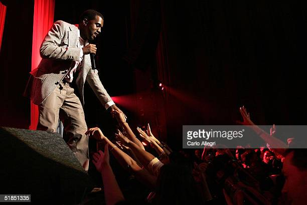 """Rapper Kanye West performs during the inaugural """"Grammy Jam Fest"""" at the Wiltern Theatre December 11, 2004 in Los Angeles, California. The event..."""