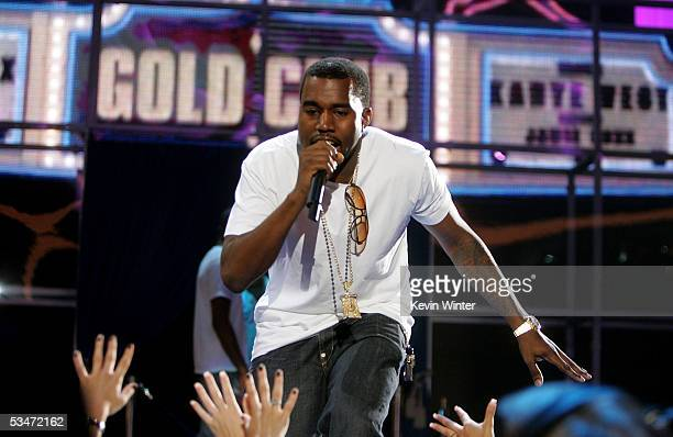 Rapper Kanye West performs on stage during rehearsals for the 2005 MTV Video Music Awards at the American Airlines Arena August 27 2005 in Miami...