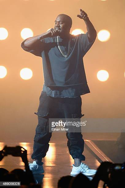 Rapper Kanye West performs onstage at the 2015 iHeartRadio Music Festival at MGM Grand Garden Arena on September 18 2015 in Las Vegas Nevada