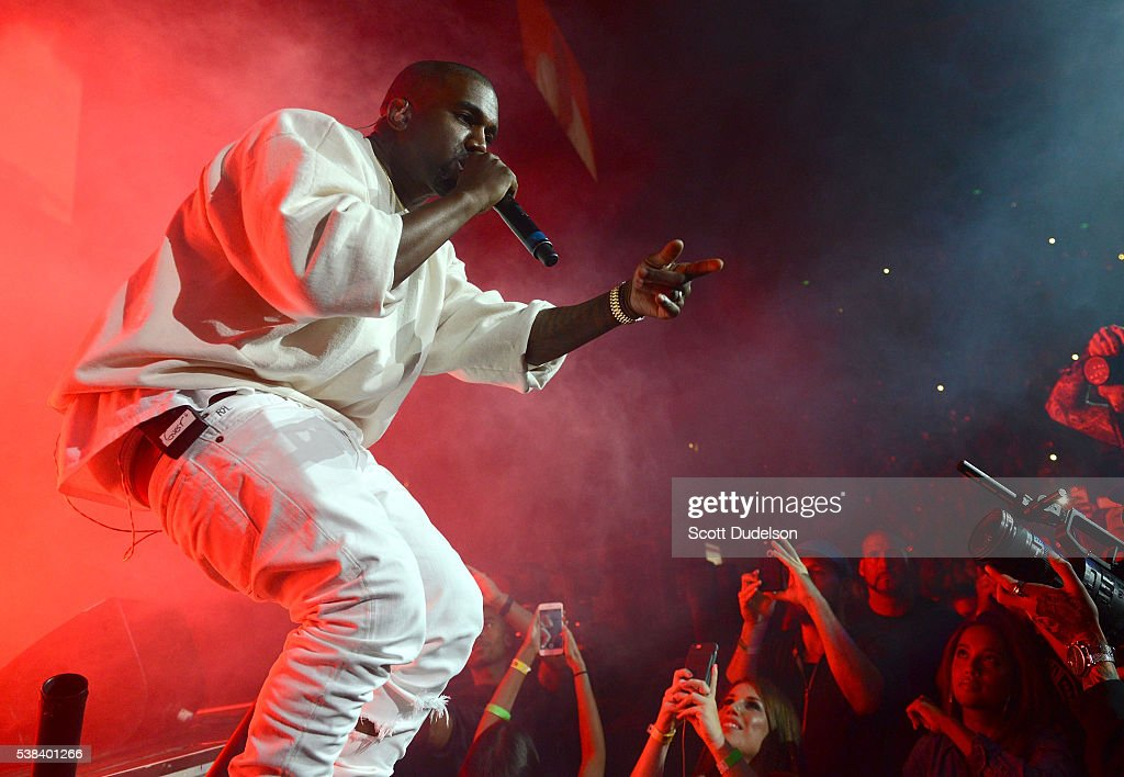 Rapper Kanye West performs onstage at the Power 106 Powerhouse show at Honda Center on June 3, 2016 in Anaheim, California.