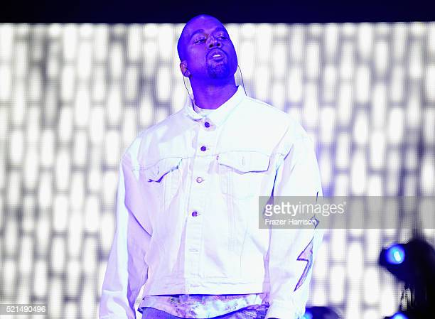 Rapper Kanye West performs onstage with A$AP Rocky during day 1 of the 2016 Coachella Valley Music Arts Festival Weekend 1 at the Empire Polo Club on...