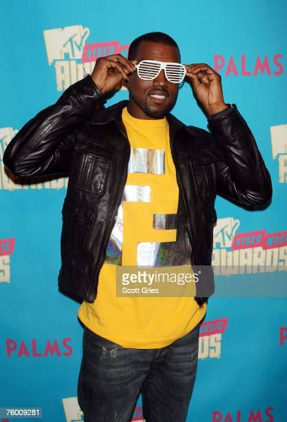 Rapper Kanye West poses backstage during a special Video Music Awards nominee taping of MTV's Total Request Live August 7 2007 in New York City