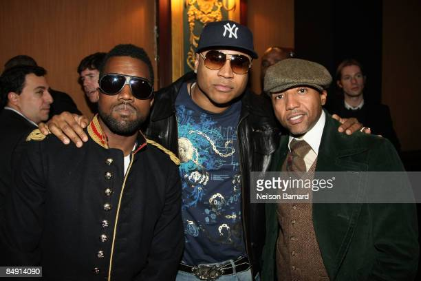 Rapper Kanye West rapper LL Cool J and record executive Kevin Liles attend the Tory Burch Fall 2009 Presentation during MercedesBenz Fashion Week at...