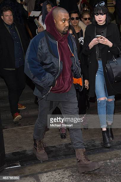 Rapper Kanye West seen arriving for the Jeremy Scott fashion show during MADE Fashion Week at MILK Studios on February 18 2015 in New York City