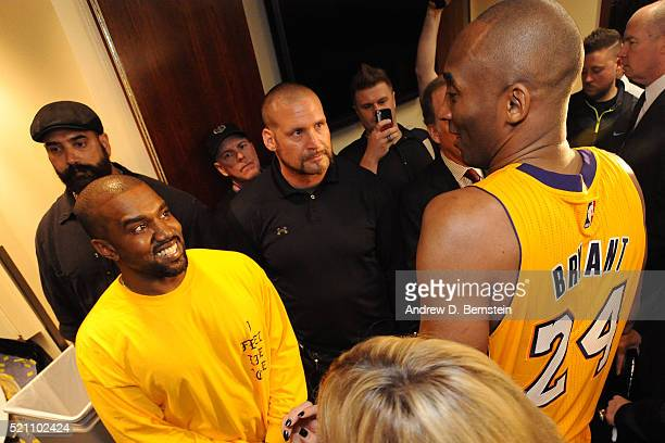 Rapper Kanye West talks to Kobe Bryant of the Los Angeles Lakers after the game on April 13 2016 at Staples Center in Los Angeles California NOTE TO...