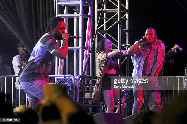 Rapper Kendrick Lamar and recording artist Anderson Paak perform onstage during day 3 of the 2016 Coachella Valley Music Arts Festival Weekend 2 at...