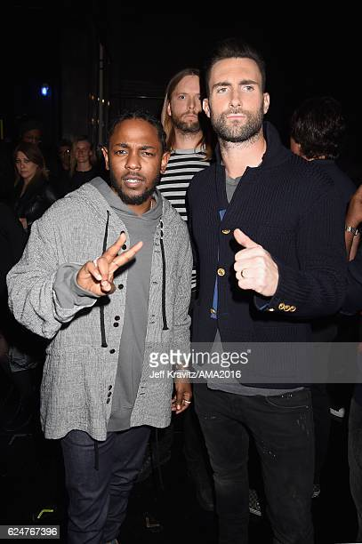 Rapper Kendrick Lamar and singer Adam Levine attend the 2016 American Music Awards at Microsoft Theater on November 20 2016 in Los Angeles California