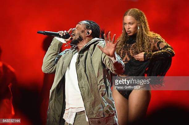 Rapper Kendrick Lamar and singer Beyonce perform onstage during the 2016 BET Awards at the Microsoft Theater on June 26, 2016 in Los Angeles,...