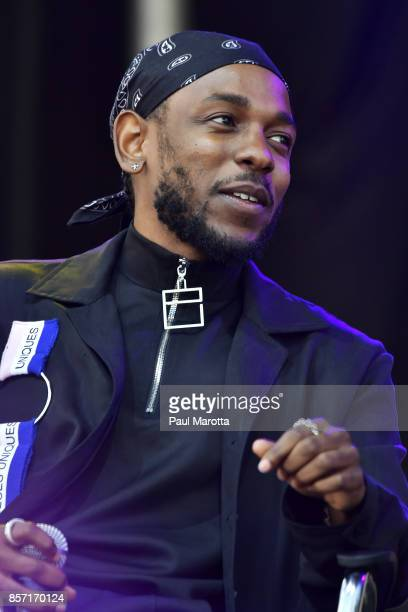 Rapper Kendrick Lamar is interviewed by Forbes Magazine Senior Editor Zack O'Malley Greenburg at the 2017 Forbes Under 30 Summit on October 3 2017 in...
