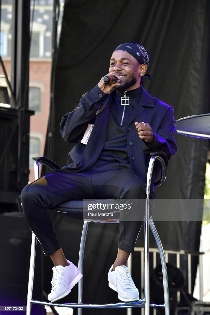 Rapper Kendrick Lamar is interviewed by Forbes Magazine Senior Editor Zack O'Malley Greenburg at the 2017 Forbes Under 30 Summit on October 3, 2017 in Boston, Massachusetts.