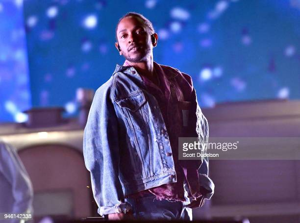 Rapper Kendrick Lamar performs as a special guest on the Coachella stage during week 1 day 1 of the Coachella Valley Music and Arts Festival on April...