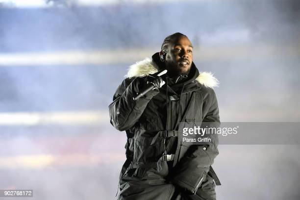 Rapper Kendrick Lamar performs during half time during 2018 College Football Playoff National Championship Game at Centennial Olympic Park on January...