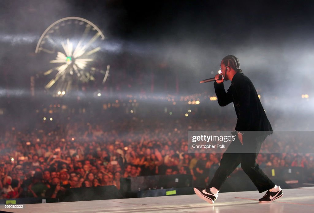 Rapper Kendrick Lamar performs on the Coachella Stage during day 3 of the Coachella Valley Music And Arts Festival (Weekend 1) at the Empire Polo Club on April 16, 2017 in Indio, California.