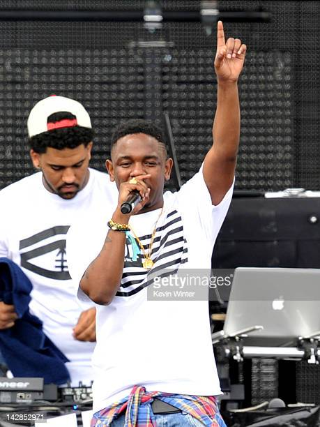 Rapper Kendrick Lamar performs onstage during day 1 of the 2012 Coachella Valley Music Arts Festival at the Empire Polo Field on April 13 2012 in...