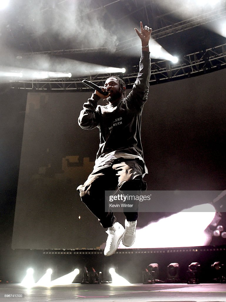 Rapper Kendrick Lamar performs onstage during FYF Fest 2016 at Los Angeles Sports Arena on August 27, 2016 in Los Angeles, California.