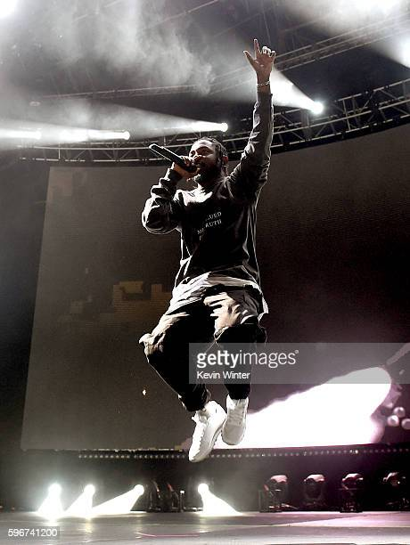 Rapper Kendrick Lamar performs onstage during FYF Fest 2016 at Los Angeles Sports Arena on August 27 2016 in Los Angeles California