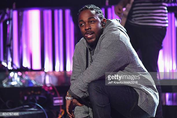 Rapper Kendrick Lamar performs onstage with Maroon 5 at the 2016 American Music Awards at Microsoft Theater on November 20 2016 in Los Angeles...