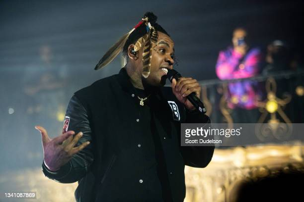 Rapper Kevin Gates performs onstage during the KHAZA tour at The Belasco on September 17, 2021 in Los Angeles, California.