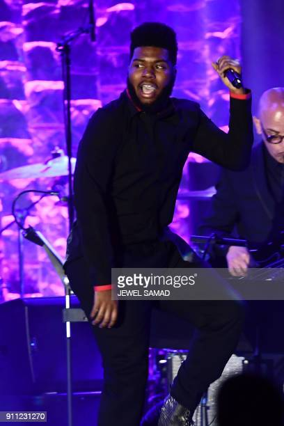 Rapper Khalid performs during the traditionnal Clive Davis party on the eve of the 60th Annual Grammy Awards on January 28 in New York / AFP PHOTO /...