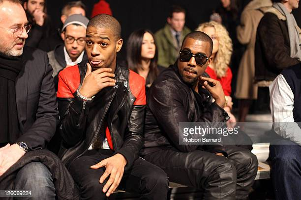 Rapper Kid Cudi and Recording Artist Kanye West attend the Band of Outsiders Fall 2011 fashion show during MercedesBenz Fashion Week at SIR Stage on...