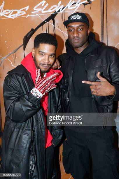 Rapper Kid Cudi and Stylist Virgil Abloh pose after the Louis Vuitton Menswear Fall/Winter 2019-2020 show as part of Paris Fashion Week on January...
