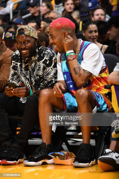 Rapper, Kid Cudi attends a game between the Golden State Warriors and the Los Angeles Lakers on October 19, 2021 at STAPLES Center in Los Angeles,...