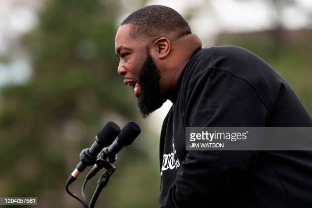 Rapper Killer Mike introduces Democratic party White House hopeful Bernie Sanders at a rally in Columbia SC on February 28 2020 Sanders is battling...